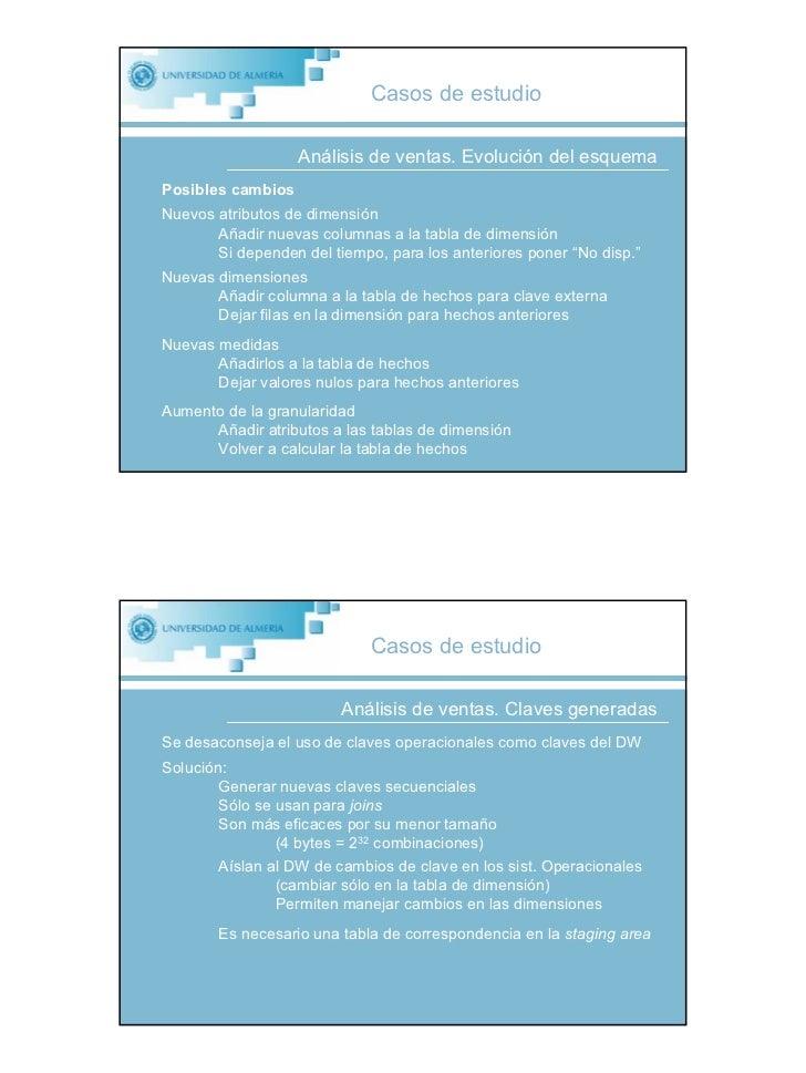 Casos de estudio                     Análisis de ventas. Evolución del esquema Posibles cambios Nuevos atributos de dimens...