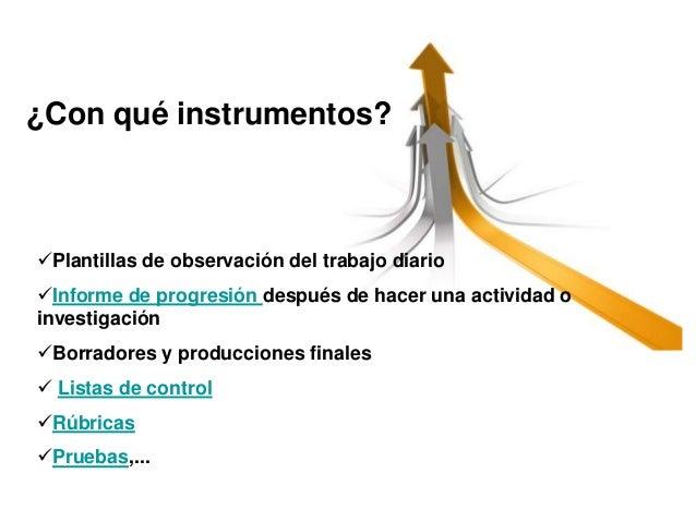 ¿Con qué instrumentos?  Plantillas de observación del trabajo diario Informe de progresión después de hacer una activida...