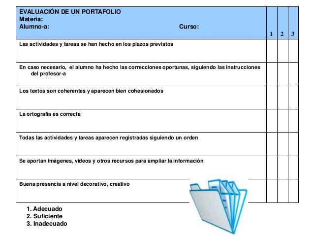 EVALUACIÓN DE UN PORTAFOLIO Materia: Alumno-a:  Curso:  1 Las actividades y tareas se han hecho en los plazos previstos  E...
