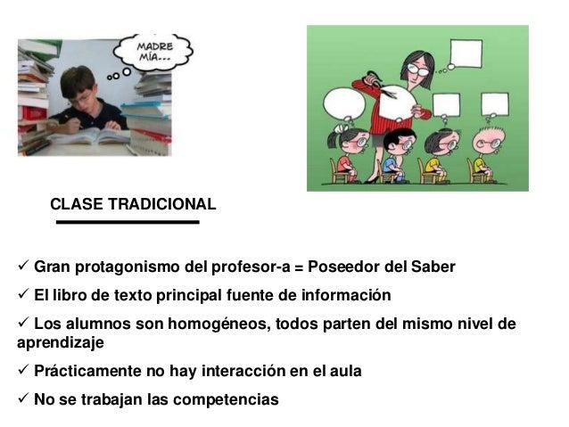 CLASE TRADICIONAL   Gran protagonismo del profesor-a = Poseedor del Saber  El libro de texto principal fuente de informa...