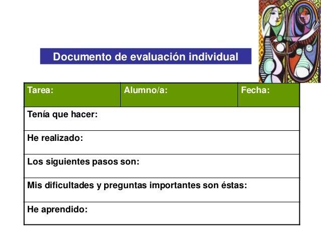 Documento de evaluación individual Tarea:  Alumno/a:  Fecha:  Tenía que hacer: He realizado: Los siguientes pasos son: Mis...
