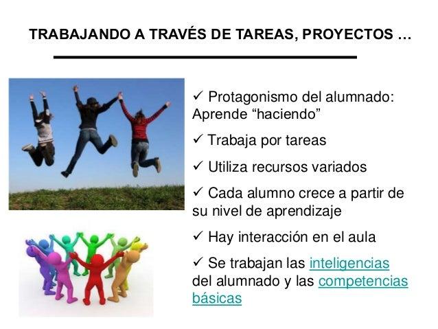 """TRABAJANDO A TRAVÉS DE TAREAS, PROYECTOS …   Protagonismo del alumnado: Aprende """"haciendo""""  Trabaja por tareas  Utiliza..."""