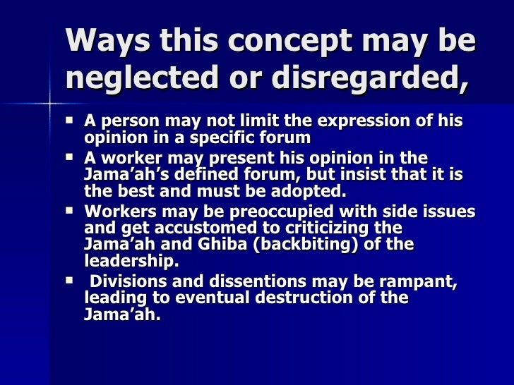 Ways this concept may beWays this concept may be neglected or disregarded,neglected or disregarded,  A person may not lim...