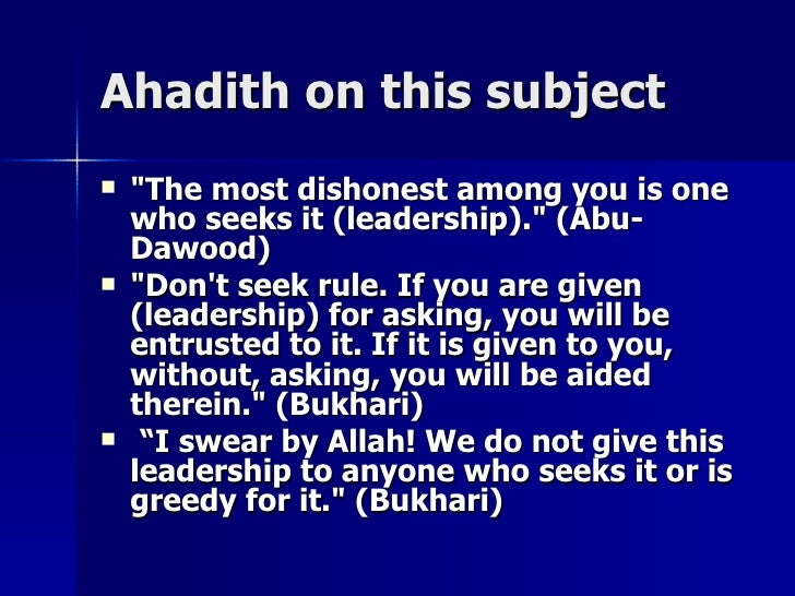 """Ahadith on this subjectAhadith on this subject  """"The most dishonest among you is one""""The most dishonest among you is one ..."""