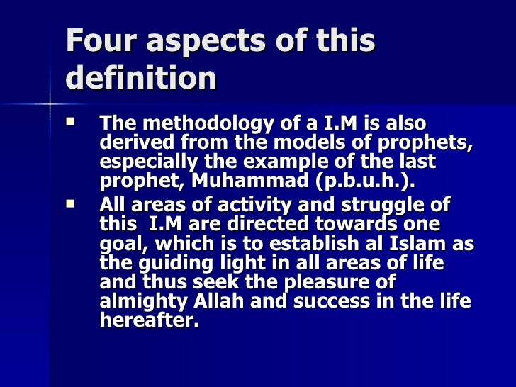 Four aspects of thisFour aspects of this definitiondefinition  The methodology of a I.M is alsoThe methodology of a I.M i...