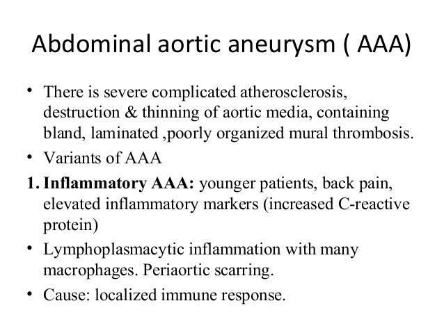 Diseases of blood vessels for Aortic aneurysm mural thrombus
