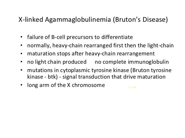 X-linked Agammaglobulinemia (Bruton's Disease) <ul><li>failure of B-cell precursors to differentiate </li></ul><ul><li>nor...
