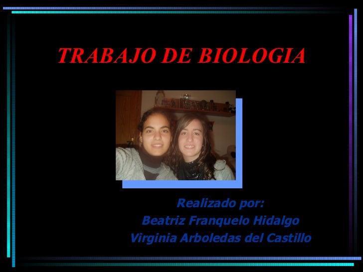 TRABAJO DE BIOLOGIA Realizado por: Beatriz Franquelo Hidalgo Virginia Arboledas del Castillo