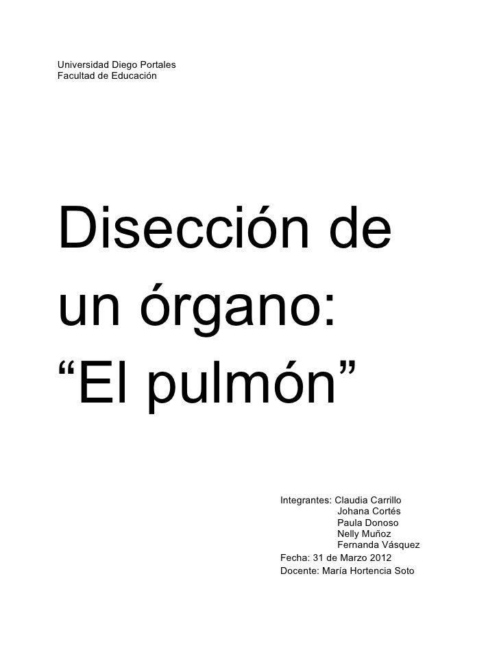 """Universidad Diego PortalesFacultad de EducaciónDisección deun órgano:""""El pulmón""""                             Integrantes: ..."""