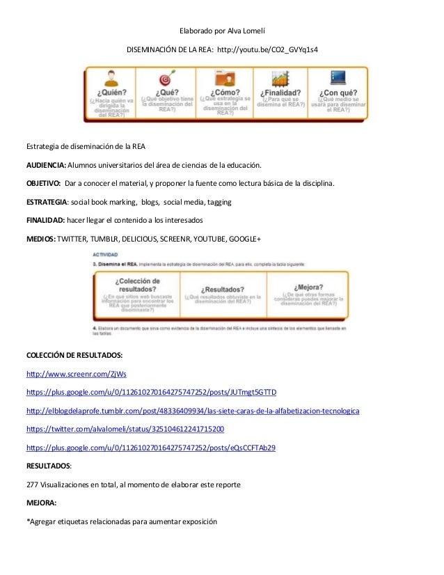 Elaborado por Alva LomelíDISEMINACIÓN DE LA REA: http://youtu.be/CO2_GVYq1s4Estrategia de diseminación de la REAAUDIENCIA:...