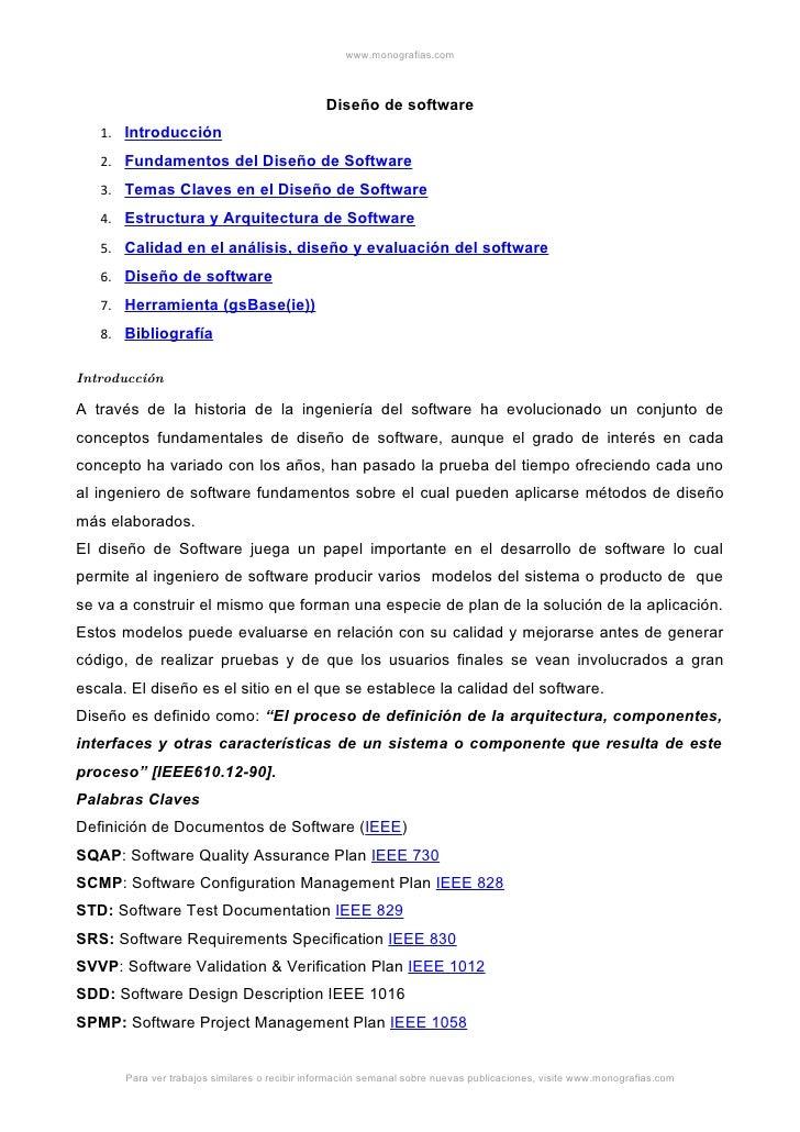 www.monografias.com                                                   Diseño de software    1. Introducción    2. Fundamen...