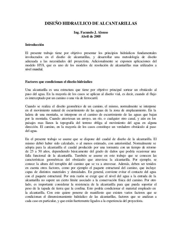 DISEÑO HIDRAULICO DE ALCANTARILLAS                                  Ing. Facundo J. Alonso                                ...