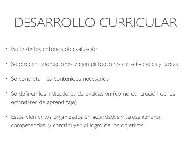 DESARROLLO CURRICULAR • Parte de los criterios de evaluación • Se ofrecen orientaciones y ejemplificaciones de actividades...