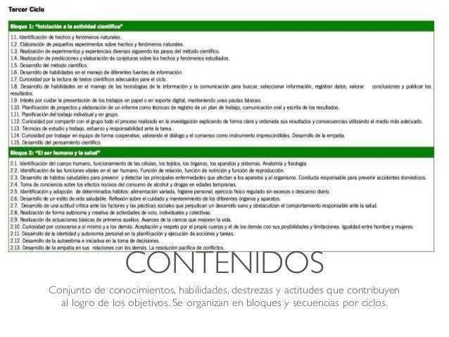 CONTENIDOS Conjunto de conocimientos, habilidades, destrezas y actitudes que contribuyen al logro de los objetivos. Se org...