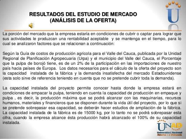 RESULTADOS DEL ESTUDIO DE MERCADO (ANÁLISIS DE LA OFERTA) La porción del mercado que la empresa estaría en condiciones de ...