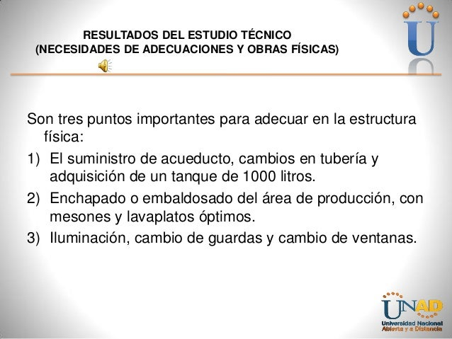 RESULTADOS DEL ESTUDIO TÉCNICO (NECESIDADES DE ADECUACIONES Y OBRAS FÍSICAS)  Son tres puntos importantes para adecuar en ...