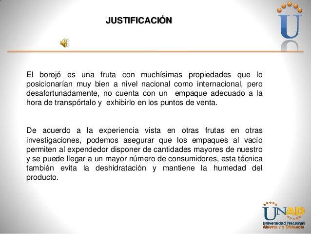 JUSTIFICACIÓN  El borojó es una fruta con muchísimas propiedades que lo posicionarían muy bien a nivel nacional como inter...