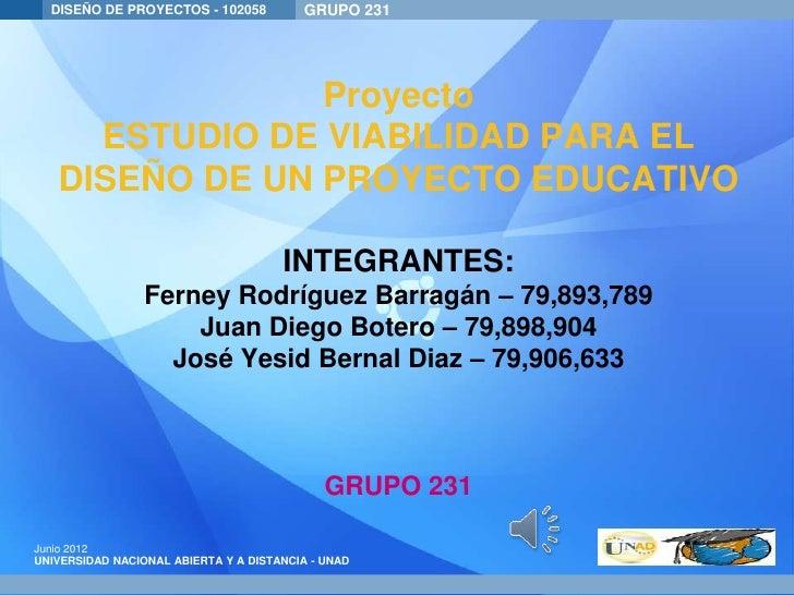 DISEÑO DE PROYECTOS - 102058           GRUPO Presentation : Ampoules                                         Product 231  ...