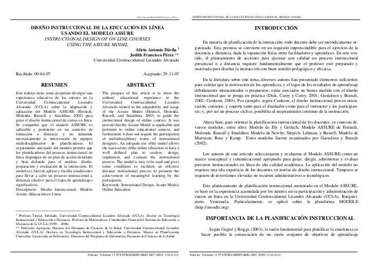 Alirio Antonio Dávila-Judith Francisco Pérez        DISEÑO INSTRUCCIONAL DE LA EDUCACIÓN EN LÍNEA USANDO EL MODELO ASSURE ...