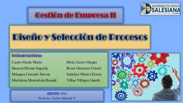 Diseño y Selección de Procesos Castro Guale María Mota Castro Ginger Huacón Morán Sugeidy Rivas Guerrero Cristel Márquez C...