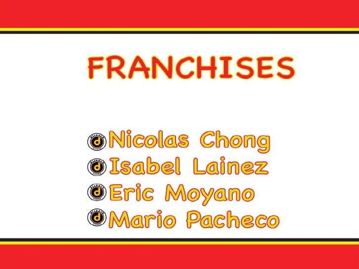 AgendaDisensa FranchiseRelation: Franchisor and FranchiseeMaster Franchisee Duties