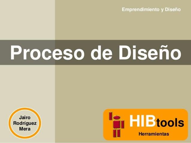Emprendimiento y Diseño  Proceso de Diseño  Jairo Rodríguez Mera  HIBtools Herramientas