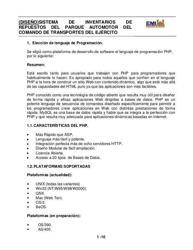 (DISEÑO)SISTEMA          DE     INVENTARIOS                  DEREPUESTOS DEL PARQUE AUTOMOTOR                             ...