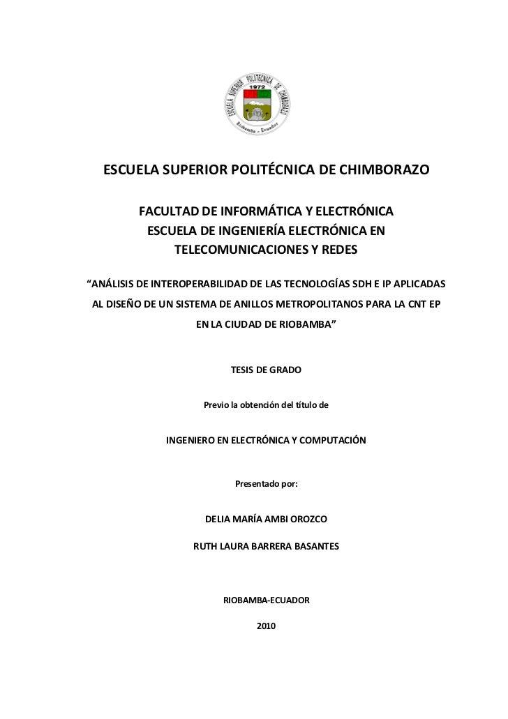 ESCUELA SUPERIOR POLITÉCNICA DE CHIMBORAZO         FACULTAD DE INFORMÁTICA Y ELECTRÓNICA          ESCUELA DE INGENIERÍA EL...