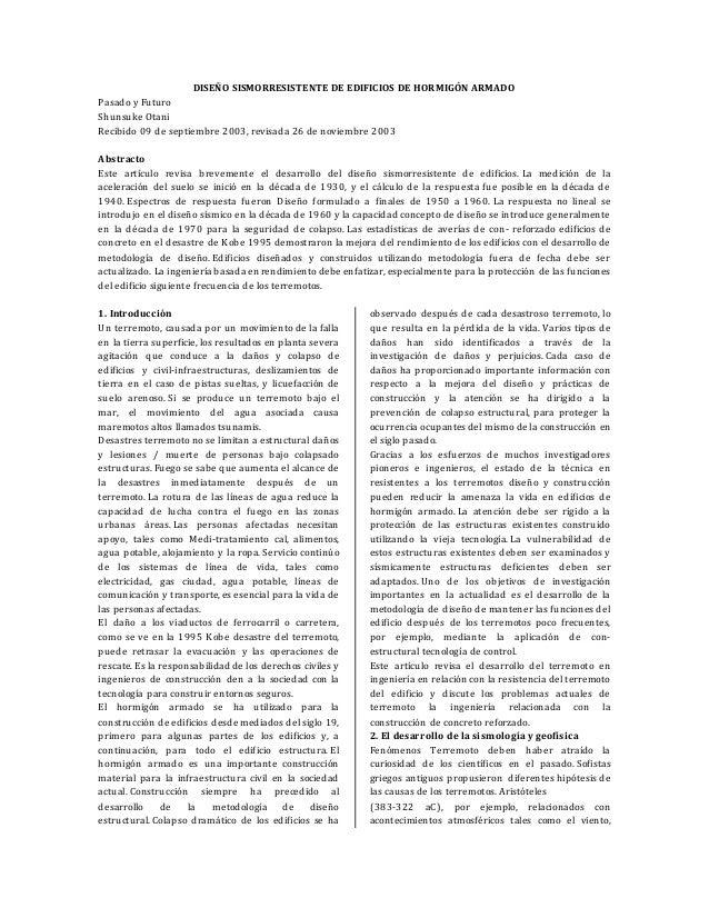 DISEÑO SISMORRESISTENTE DE EDIFICIOS DE HORMIGÓN ARMADO Pasado y Futuro Shunsuke Otani Recibido 09 de septiembre 2003, rev...