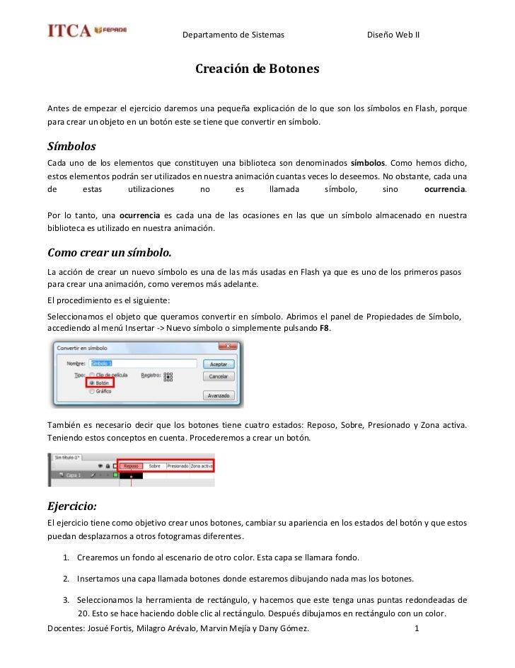 Departamento de Sistemas                        Diseño Web II                                          Creación de Botones...