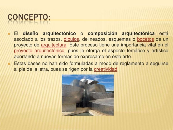Dise o arquitect nico for Descripcion de una obra arquitectonica