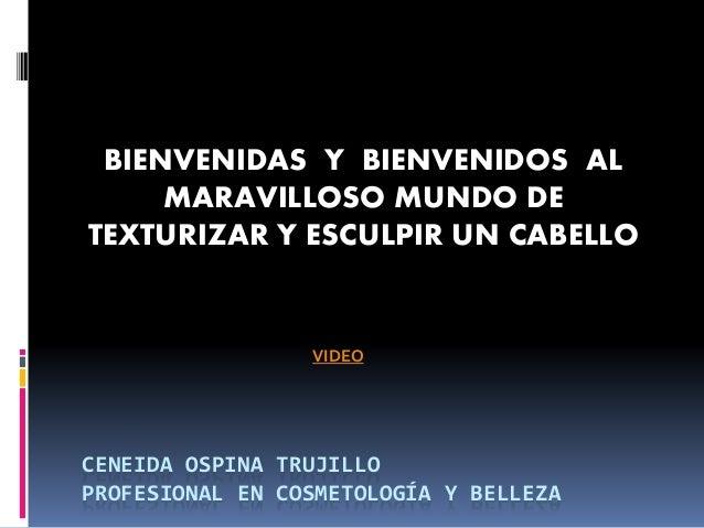 CENEIDA OSPINA TRUJILLO PROFESIONAL EN COSMETOLOGÍA Y BELLEZA BIENVENIDAS Y BIENVENIDOS AL MARAVILLOSO MUNDO DE TEXTURIZAR...