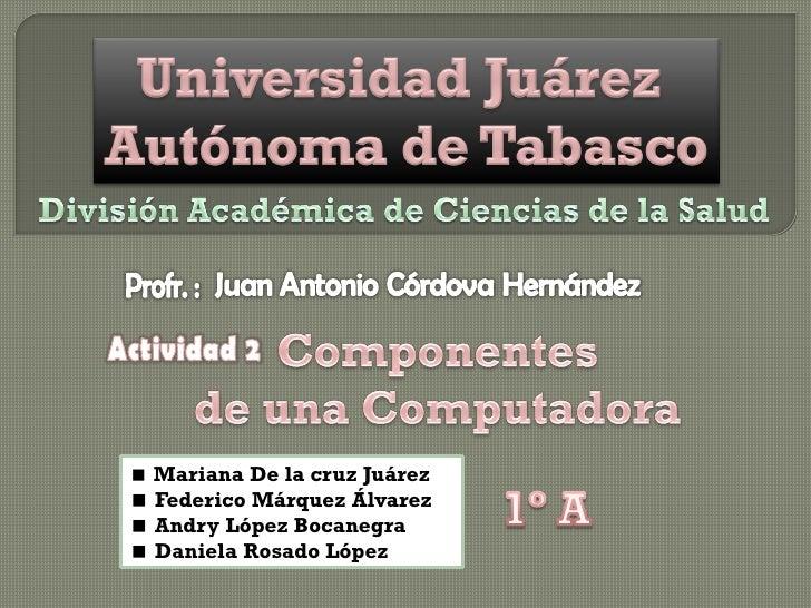  Mariana De la cruz Juárez  Federico Márquez Álvarez  Andry López Bocanegra  Daniela Rosado López