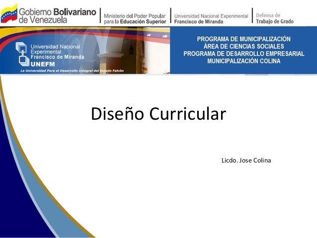Diseño Curricular  Licdo. Jose Colina