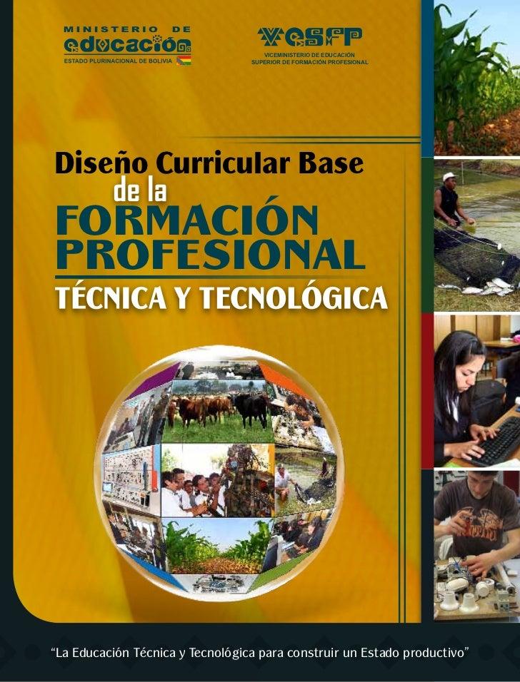 VICEMINISTERIO DE EDUCACIÓN                                  SUPERIOR DE FORMACIÓN PROFESIONALDiseño Curricular BaseFORMAC...