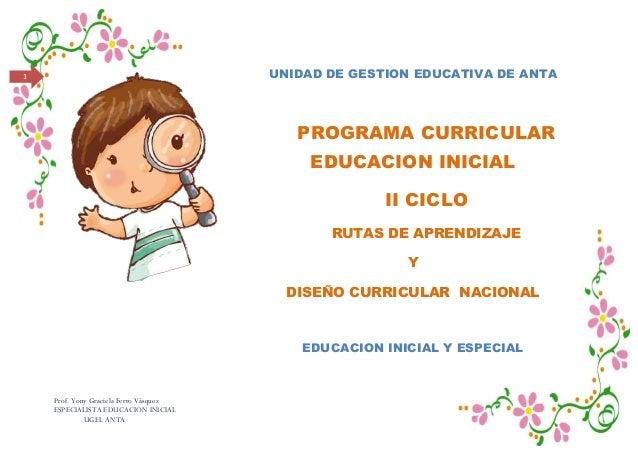 Prof. Yony Graciela Ferro VásquezESPECIALISTA EDUCACION INICIALUGEL ANTA1 UNIDAD DE GESTION EDUCATIVA DE ANTAPROGRAMA CURR...