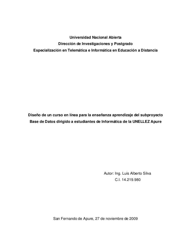 Universidad Nacional Abierta                Dirección de Investigaciones y Postgrado  Especialización en Telemática e Info...