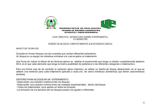 UNIVERSIDAD POPULAR DEL CESAR, AGUACHICA PROGRAMA DE INGENIERIA AGROINDUSTRIAL ESTADISTICA Y DISEÑO EXPERIMENTAL GUIA TEMA...