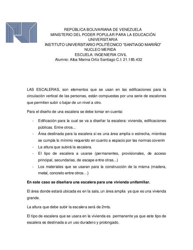 diseo de escalera repblica bolivariana de venezuela ministerio del poder popular para la educacin instituto po