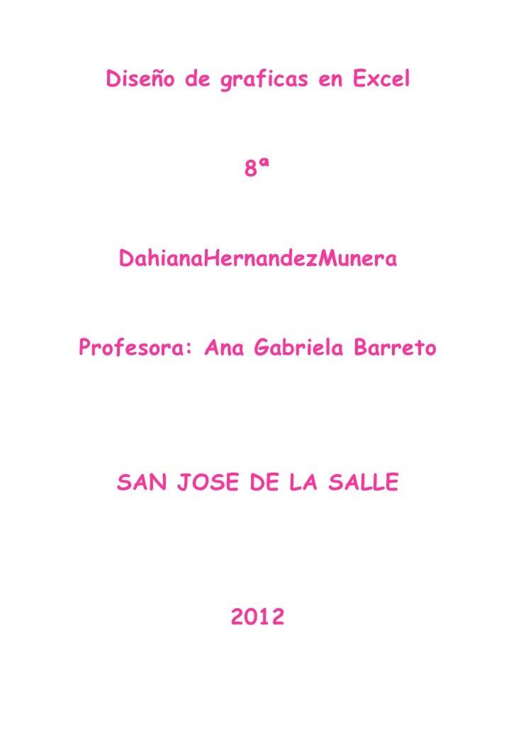 Diseño de graficas en Excel              8ª   DahianaHernandezMuneraProfesora: Ana Gabriela Barreto   SAN JOSE DE LA SALLE...