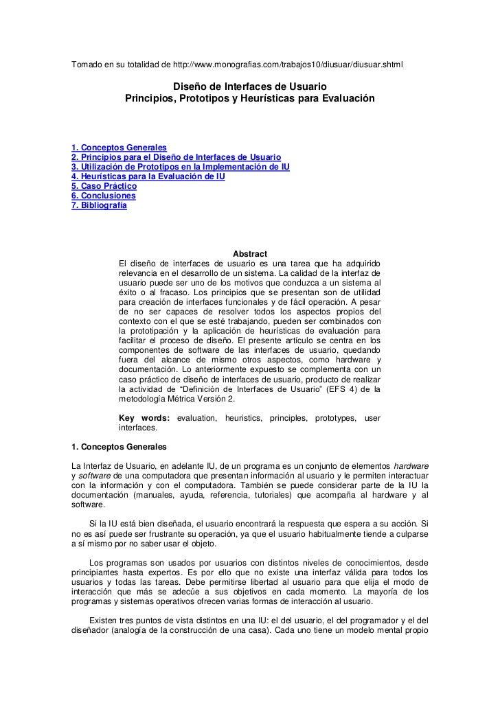 Tomado en su totalidad de http://www.monografias.com/trabajos10/diusuar/diusuar.shtml                        Diseño de Int...