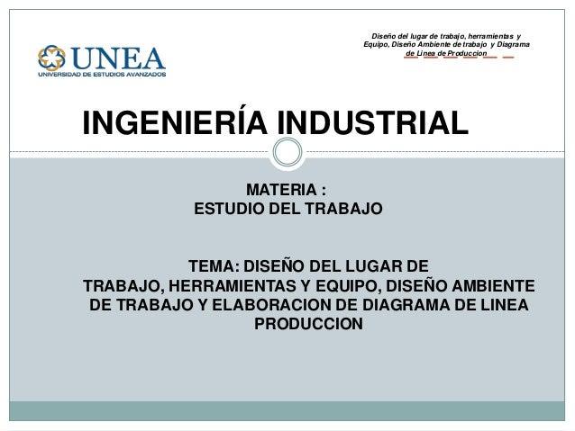 INGENIERÍA INDUSTRIALMATERIA :ESTUDIO DEL TRABAJOTEMA: DISEÑO DEL LUGAR DETRABAJO, HERRAMIENTAS Y EQUIPO, DISEÑO AMBIENTED...