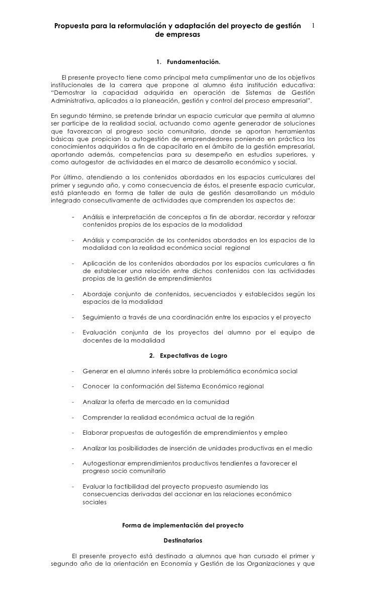 Propuesta para la reformulación y adaptación del proyecto de gestión                 1                              de emp...