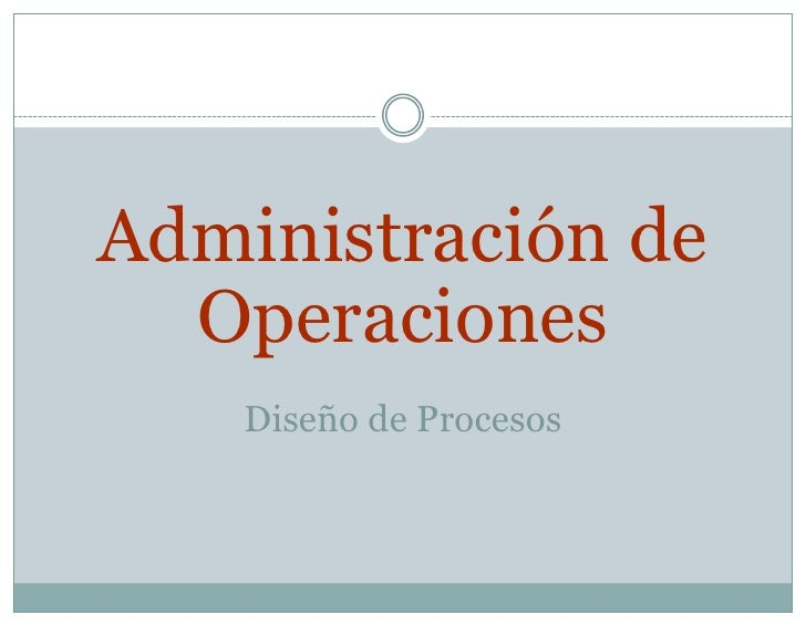 Administración de OperacionesDiseño de Procesos<br />
