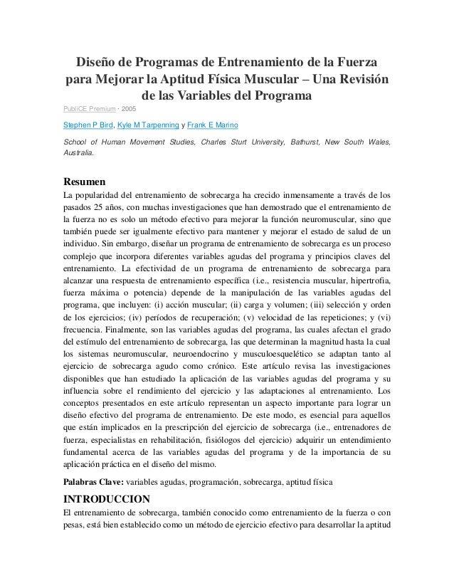 Diseño de Programas de Entrenamiento de la Fuerza para Mejorar la Aptitud Física Muscular – Una Revisión de las Variables ...