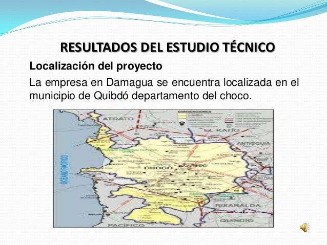 RESULTADOS DEL ESTUDIO TÉCNICOLocalización del proyectoLa empresa en Damagua se encuentra localizada en elmunicipio de Qui...
