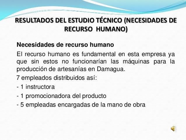RESULTADOS DEL ESTUDIO TÉCNICO (NECESIDADES DE             RECURSO HUMANO)Necesidades de recurso humanoEl recurso humano e...