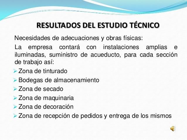 RESULTADOS DEL ESTUDIO TÉCNICONecesidades de adecuaciones y obras físicas:La empresa contará con instalaciones amplias eil...