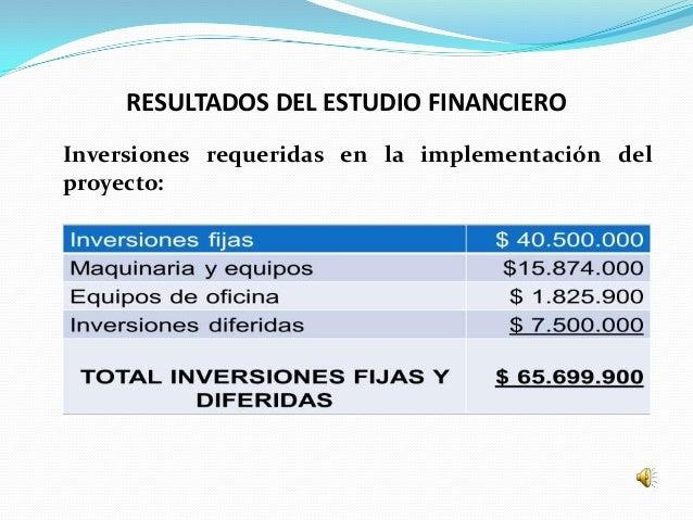 RESULTADOS DEL ESTUDIO FINANCIEROInversiones requeridas en la implementación delproyecto: