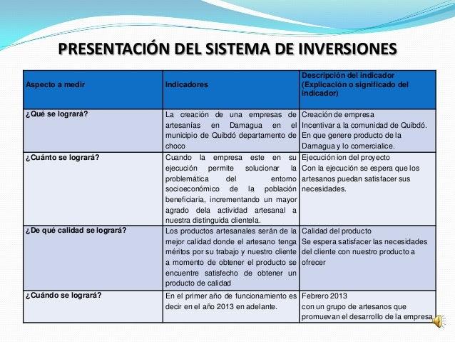 PRESENTACIÓN DEL SISTEMA DE INVERSIONES                                                                         Descripció...